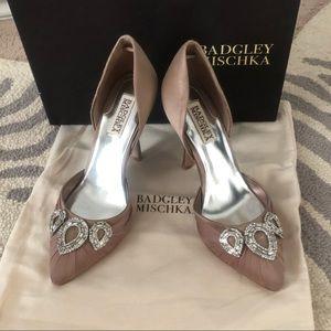 Badgley Mischka Satin Taupe Formal Heel Pumps 7.5
